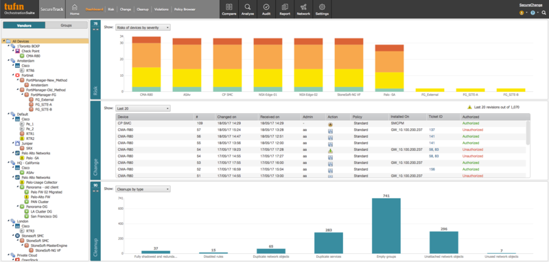 Tufin's dashboard provides visibility across vendors and platforms